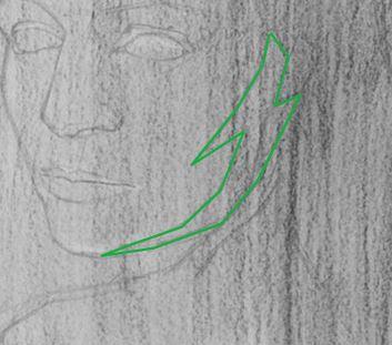 dessiner l'ombre de la mâchoire du visage
