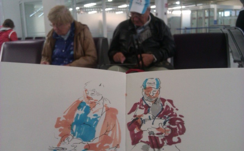 Un couple de personnes âgées dont j'ai dessiné les portraits sur le vif