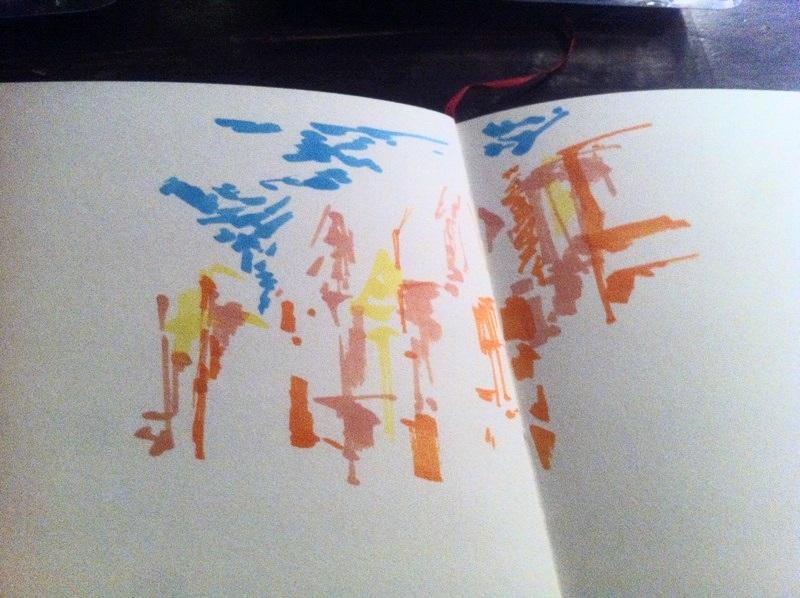 La suite de mon dessin de la peinture avec du jaune pur et du orange.