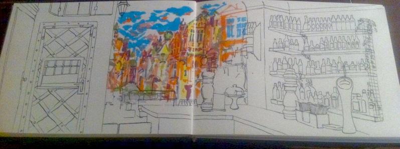 Je préfère apprendre à dessiner en reproduisant des intérieurs. Ici c'est un intérieur d'un café en Pologne.i