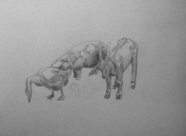 Le dessin des sculptures d'animaux en bronze