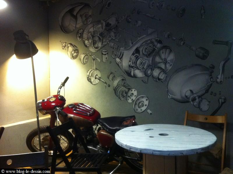 la moto utilisée pour dessiner en couleur