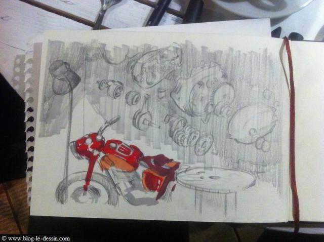 dessiner une moto après avoir testé les couleurs