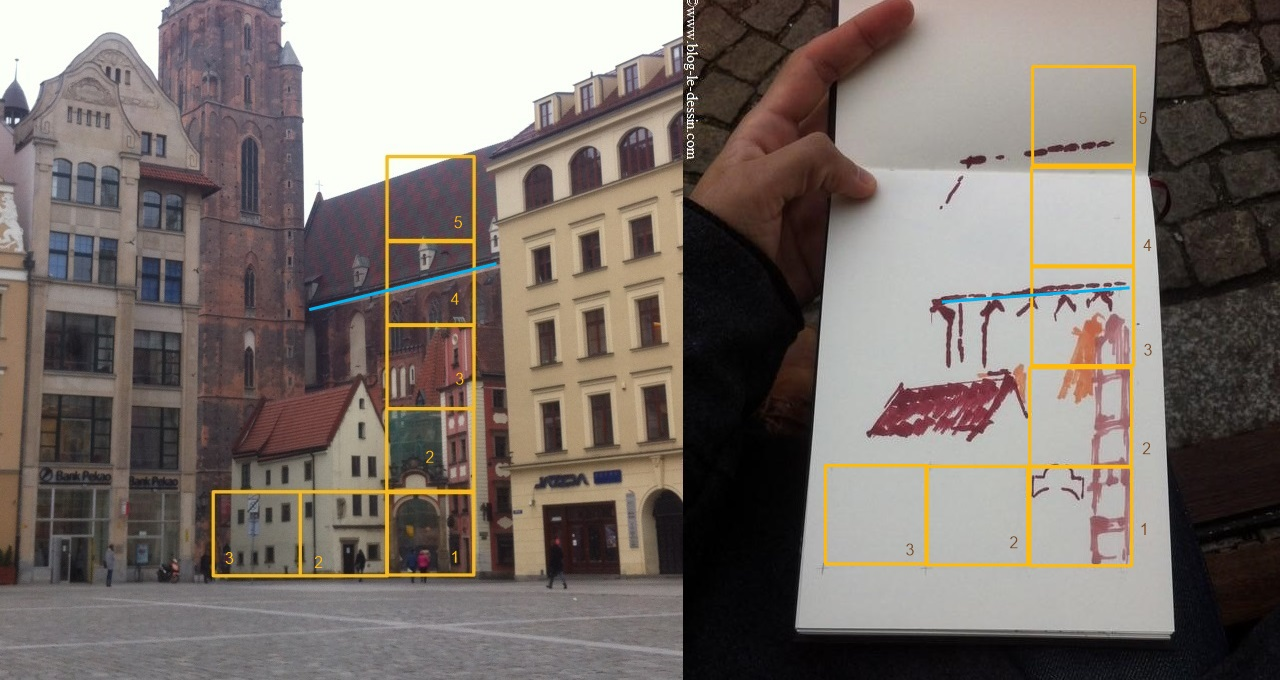 Comparaison entre le croquis et le dessin de paysage vertical