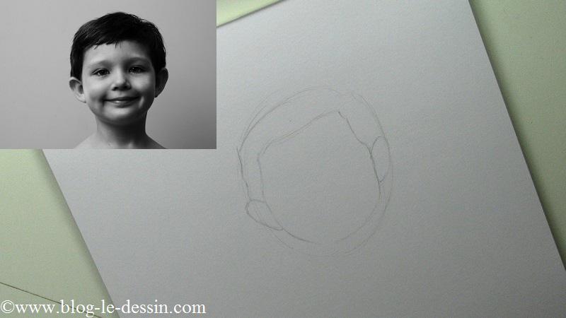 Pour débuter vous allez devoir bien retranscrire la forme du visage dans votre portrait avant de vous attaquer au reste du visage.