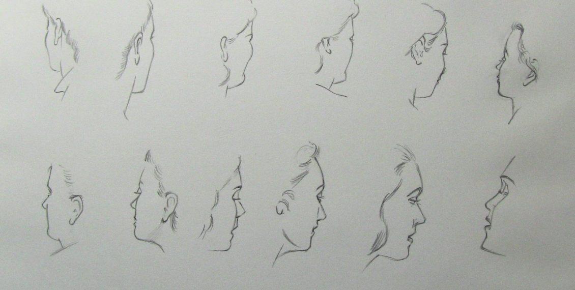 dessiner visage 3-4 au crayon