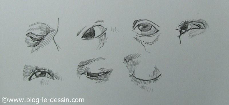 planche exemples comment dessiner les yeux