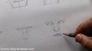 dessiner un visage proportions formes adjacentes