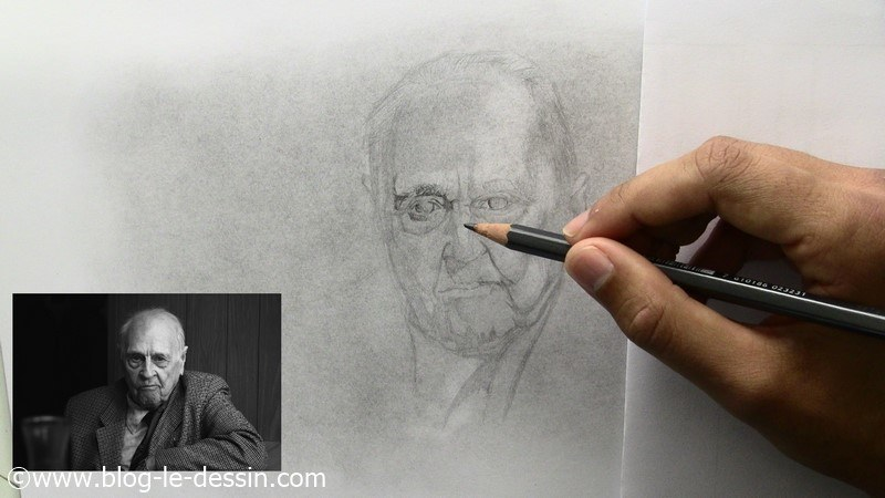 portrait personnes agees ombres crayon 5B oeil