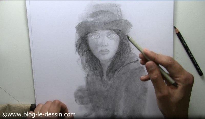 tutoriel dessin visage fille contours yeux estompe