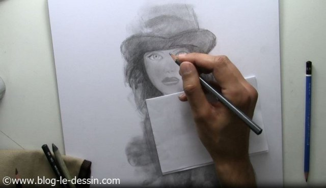 tutoriel dessiner fille visage crayon 5B expression