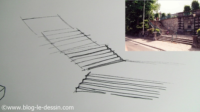Dessiner un escalier en perspective division en 6