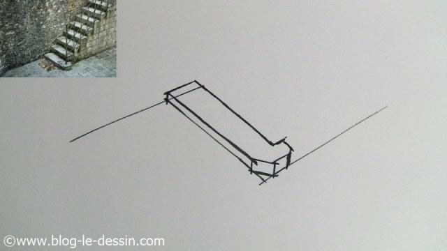 dessiner escalier première marche fin