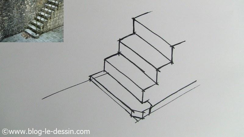 dessiner escalier marches suivantes