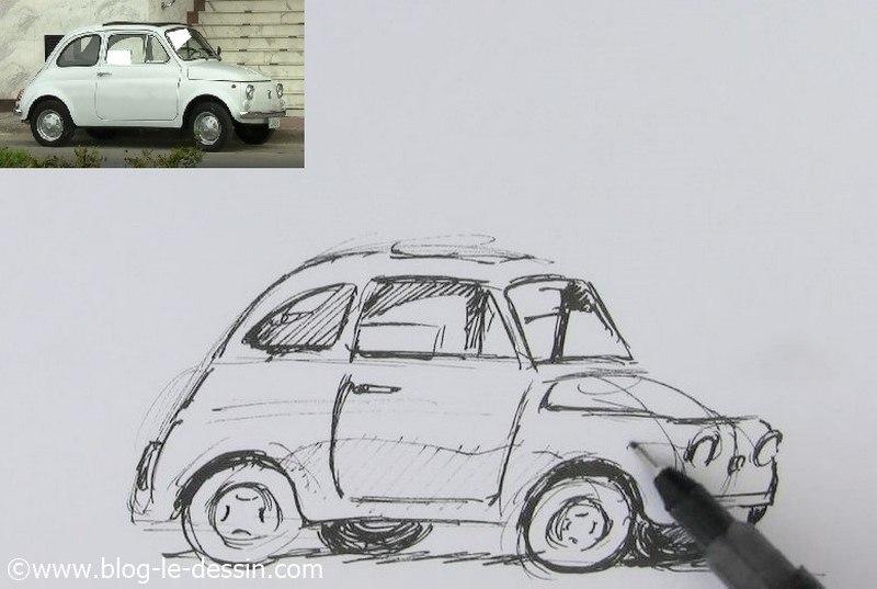 dessiner une voiture facile reflet