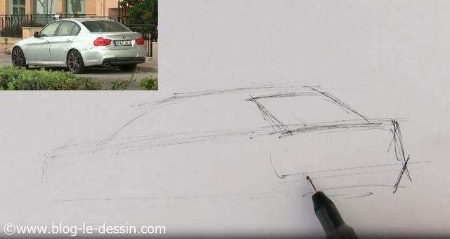 dessiner voiture sportive facile vitre arriere