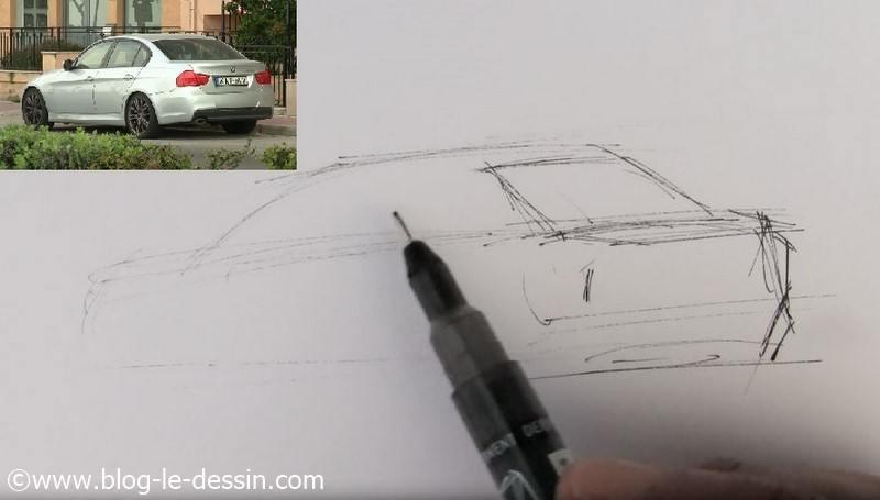 dessiner voiture sportive coffre profondeur