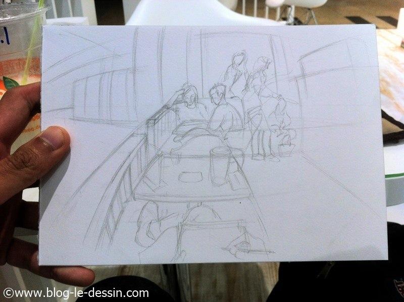 dessiner perspective dans un cafe
