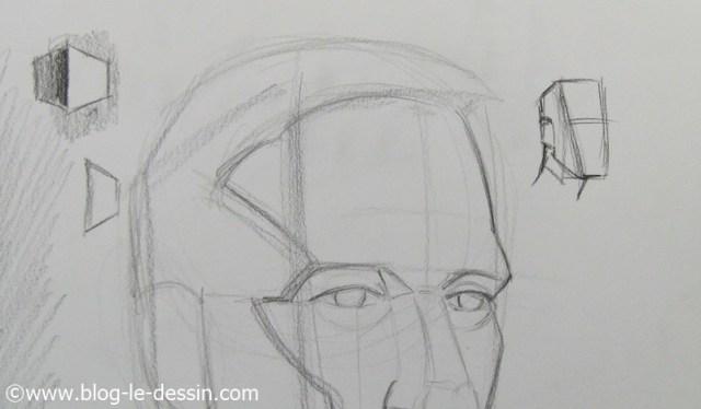 Placer les surfaces et les reliefs avant de dessiner les parties sombres sur le portrait