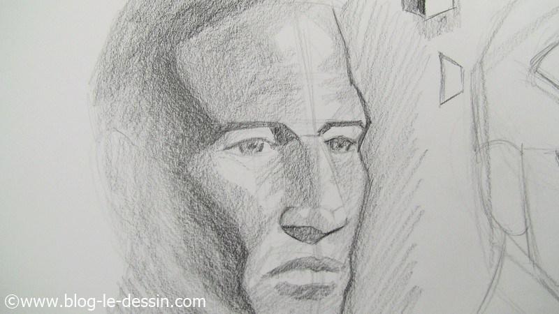 le résultat sur le bas du portrait au crayon avec les ombres