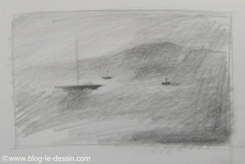 une image avec de la brume dessinee au crayon avec vivacite