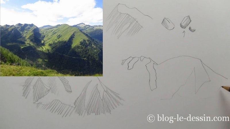 tracer au crayon forme contour montagne et vallons