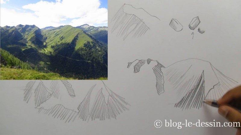 placer ombre sur crete montagne crayon