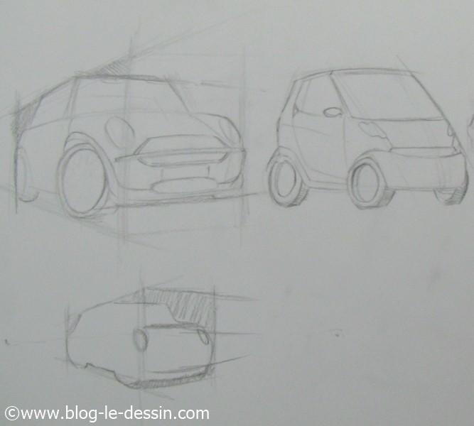 Schema pour dessiner une voiture avec une pespective simple pour les croquis rapides