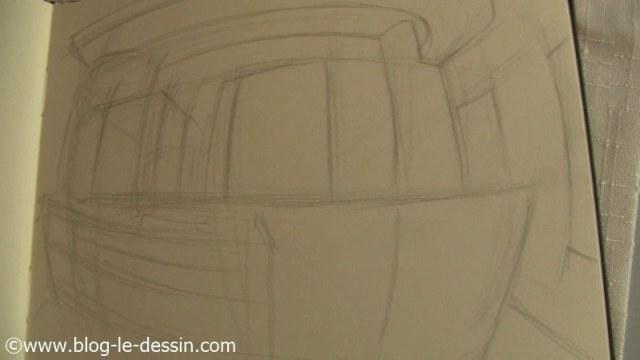 ébauche perspective croquis crayon train