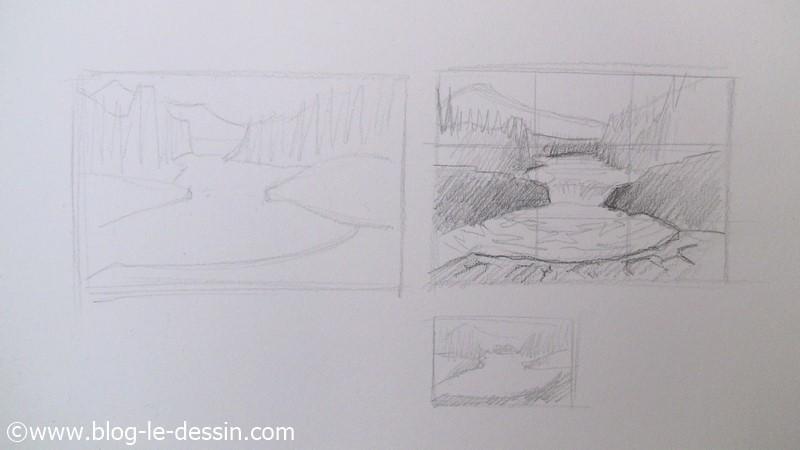 Exemple de grille de composition utilise pour ce paysage a dessiner au crayon de papier