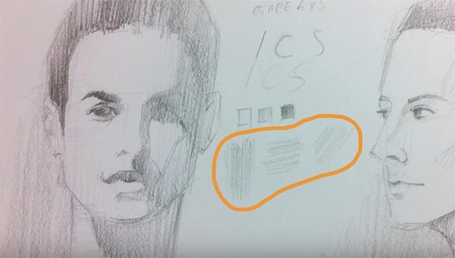 règle des 3 avec le remplissage pour un dessin de portrait