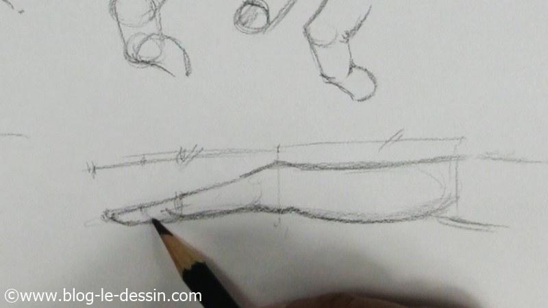planche vue de la main en profile dessinée au graphite
