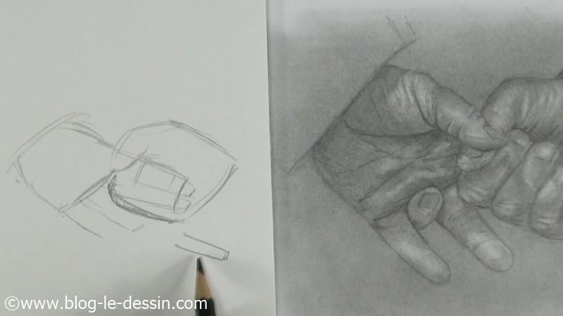 croquis dessin mains croisés premiere etape