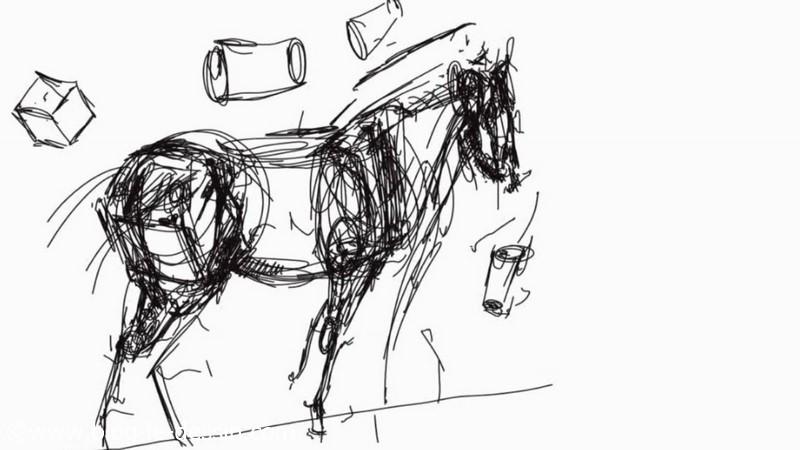 planche slate cheval dessin illustration noir et blanc proportions et mesures