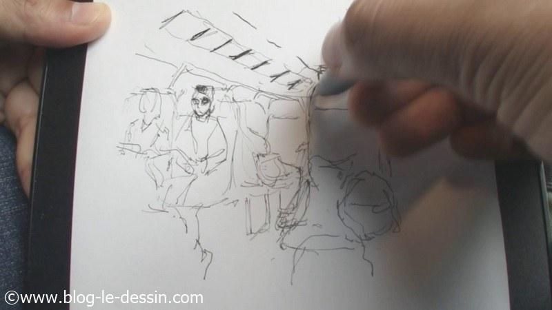 Image croquis feutre train interieur