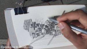Planche croquis rue allemagne dessin encre en 40 minutes