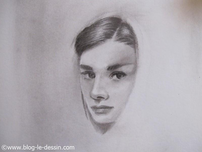 mise en relief des cheveux pour transformer une photo en dessin au fusain