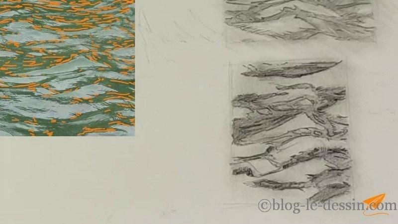 Travailler les ombres subtiles pour créer du réalisme dans l'eau et suggérer le mouvement.