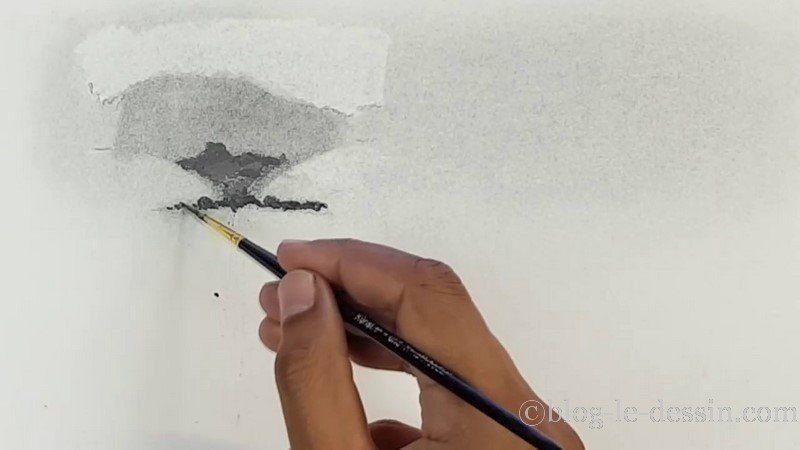 résultat eau et poudre graphite sur la feuille
