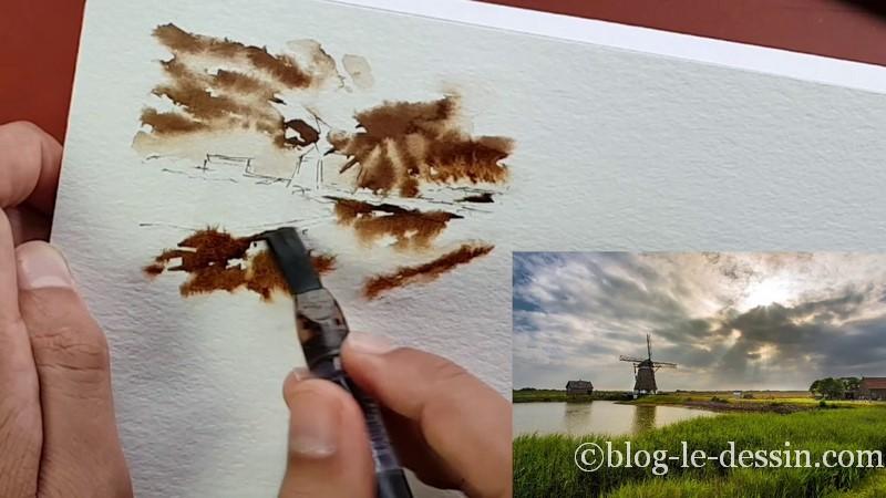 retouche pinceau partie herbe composition