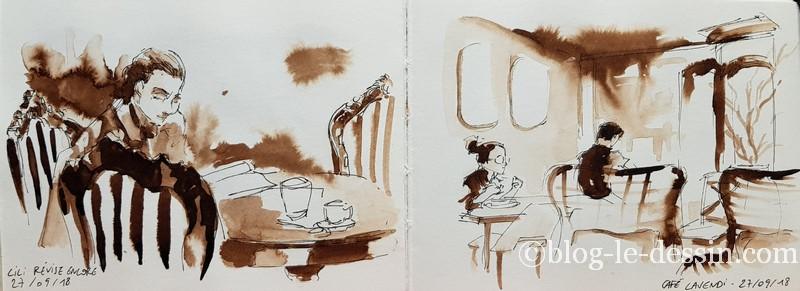 croquis rapide appartement et restaurant cafe