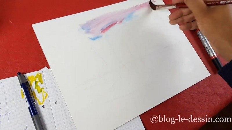 premiere etape feutre aquarelle croquis paysage