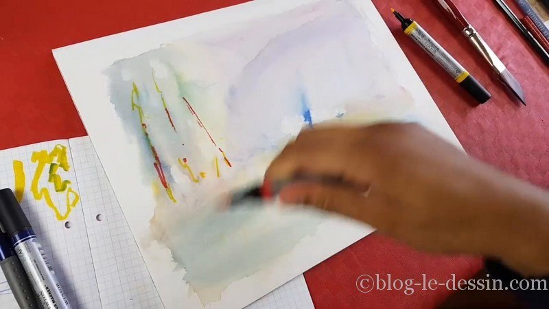 application eau sur feutre aquarelle windsor et newton