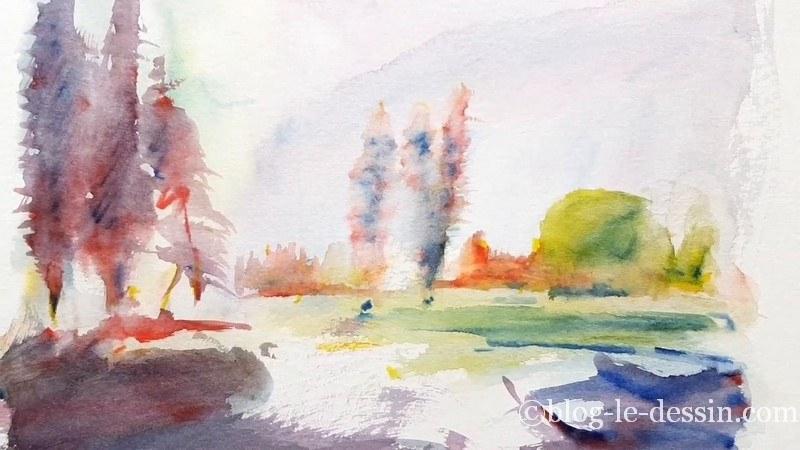 test feutres aquarelle windsor et newton paysage