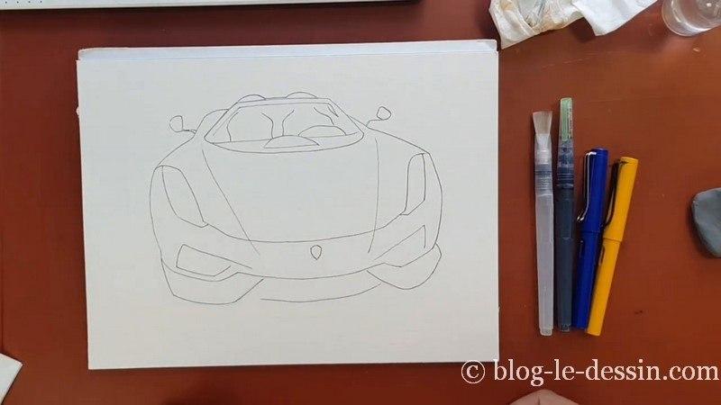 coloriser voiture a encre apres croquis