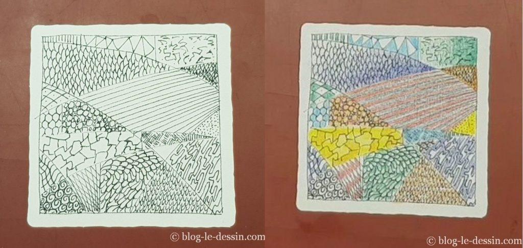 Coloriage du Zentangle ® aux crayons de couleur