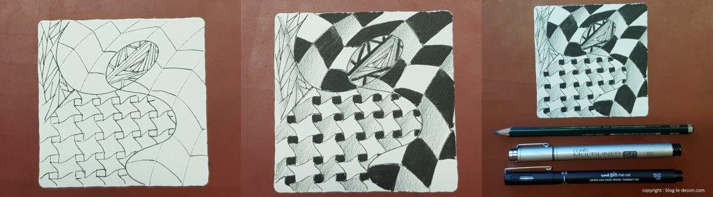 Coloriage et remplissage des motifs du Zentangle ® avec un feutre noir et un crayon gris