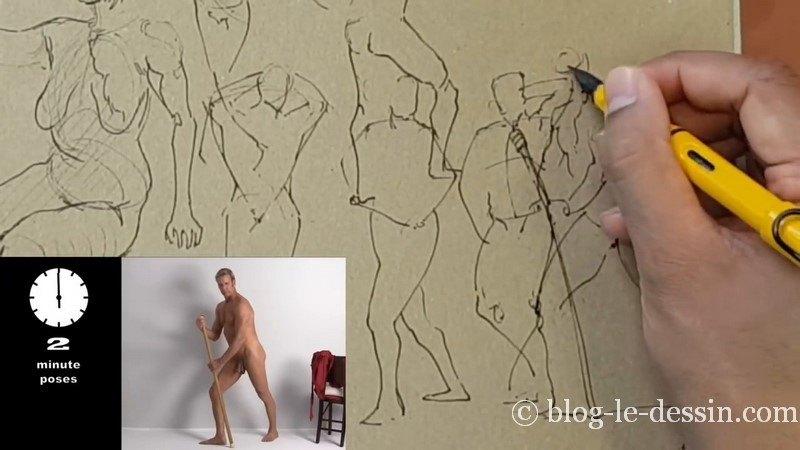 dessiner homme composition dans feuille