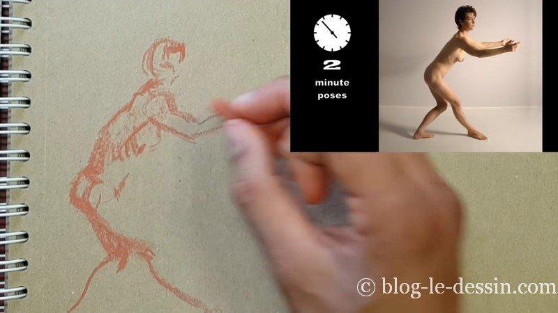 posture longue de dessin esquisse rapide