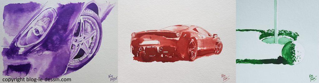 réaliser un lavis, lavis en couleur, lavis de voiture en violet et rouge